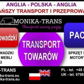 Przeprowadzki UK-Polska, transport paczek, AGD, RTV, palet.